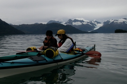 Joolee and Tina kayaking in Prince William Sound