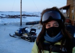 Joolee came to pick up Bill at the Bethel airport on a snowmobile