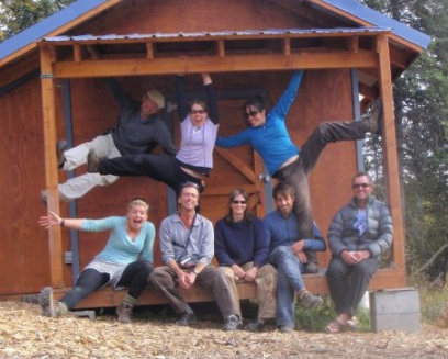 Staff on the deck of the guide hut at MICA Guides, Alaska
